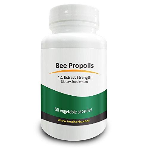 Real Herbs Bee Propolis Extrakt - Abgeleitet von 2,800mg von Bee Propolis Extrakt mit 4 : 1 Stärke - antioxidative und entzündungshemmende Unterstützung verbessert die Funktion des Immunsystems - 50 vegetarische Kapseln