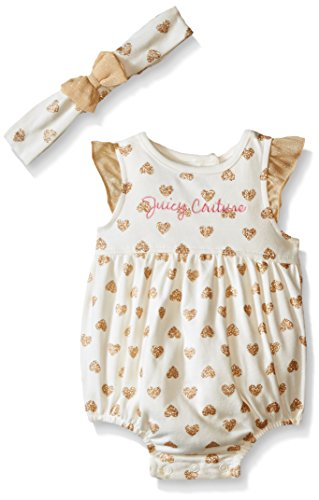 Juicy Couture Baby Girls' Foil Printed Interlock Sun Suit with Headband, Gold, 18 Months