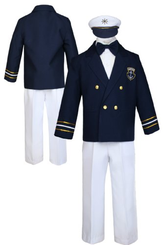 Sailor Captain Suit for Boy Outfits from New Born to 7 Years Old (5, White pants) ()