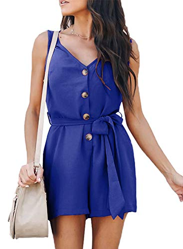 Dokotoo Womens Fashion Elegant Summer Ladies Casual Sleeveless Button Down V Neck Belted Solid Plain Short Rompers Jumpsuits Playsuit Blue Small