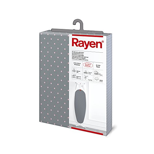 Rayen | Housse pour table à repasser Universelle | 3 épaisseurs: mousse, molleton et tissu 100 % coton | Gamme Medium de Rayen | 130x47 cm | Gris à pois roses
