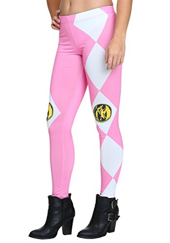 The Mighty Morphin Power Rangers Juniors Pink Leggings Tights Yoga (Mighty Morphin Power Rangers Suits For Adults)