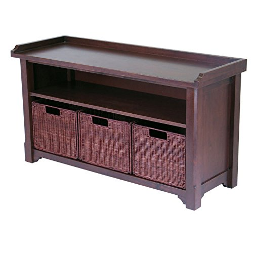 Winsome Wood MilanWood Storage Bench in Antique Walnut Finish with Storage Shelf and 3 Rattan Baskets in Antique Walnut  Finish (Storage Bench Baskets Wicker)