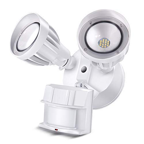 BBOUNDER LED Security Flood Light Outdoor with Motion Sensor, 2 Adjustable Heads, 20W(120W Equiv), 5000K Daylight, Waterproof, Upgraded Aluminum Heads with Dupont Paint Coating, Antioxydation