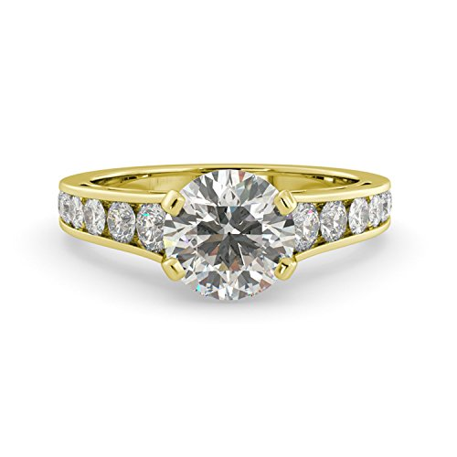 (2.80 dwt Round Charles & Colvard Forever One Moissanite & Diamond Graduated Engagement Custom Unique Ring Solid 14k White Rose Yellow Gold)