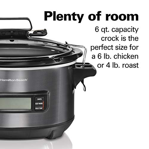 Hamilton Beach Portable 6Quart Digital Programmable Slow Cooker With Temp Tracking Temperature Probe