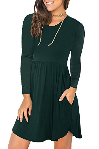 (LONGYUAN Women's Casual Loose Plain Dresses Short Dress Dark Large, Green)