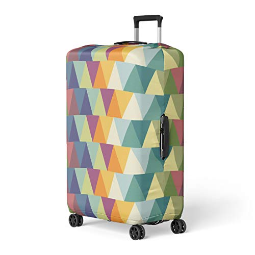 Pinbeam Luggage Cover Blue Abstract Triangle Pattern Colorful 1950S 1960S Black Travel Suitcase Cover Protector Baggage Case Fits 26-28 ()