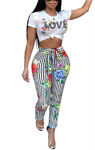 LKOUS Womens Summer Floral Print 2 Pieces Outfits Bodycon Puff Short Sleeve Crop Top Bandage Long Pants Set