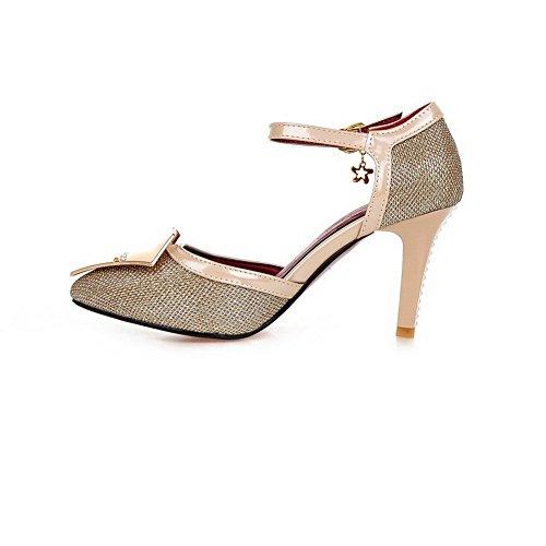 clouté Métal pumps Doré Mesdames balamasa Boucles toe Matière shoes pointed souple strass 7qtwcZTCx