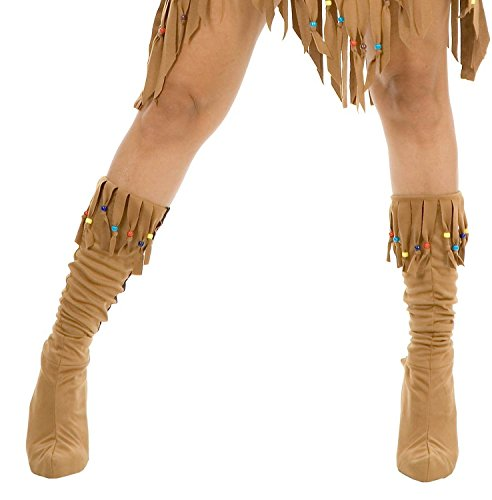 Maiden Indian Costume (Charades Adult Indian Maiden Costume Boots, Tan, Medium/Large)