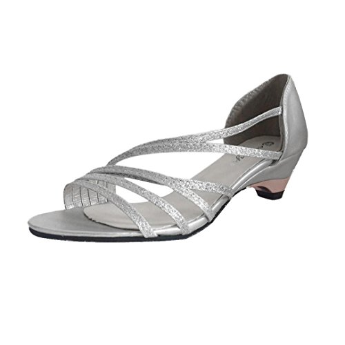 Women Sandals Daoroka Chunky Block Low Wedges Heel Open Toe Beach Elegant Sweet Casual Work Wedding Party Outdoor Dress Shoes (US:7, Silver)