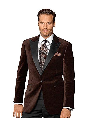 Paul Fredrick Men's Cotton Velvet Sport Coat Chocolate 44 Short Cotton Velvet Coat