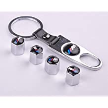Set of 4 Car Tire Valve Stem Air Caps Cover + Keychain For BMW M