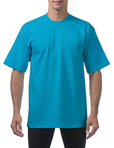 Pro Club Men's Heavyweight Cotton Short Sleeve Crew Neck T-Shirt, Turquoise, X-Large