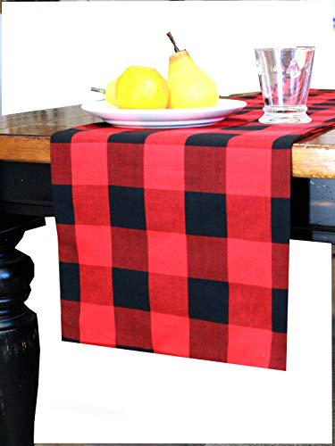 Christmas Table Runner Super Extra Long - 21 feet Long - Buffalo Plaid - Double Fabric, Invisible Seams, Red Tartan, Checkered, Checks, Modern - Made USA (12.5