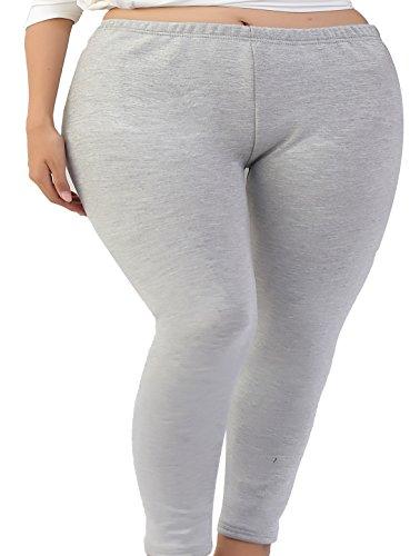 Zando Womens Thick Fleece Stretchy Legging Warm Plus Size Full Length Tights Light Grey