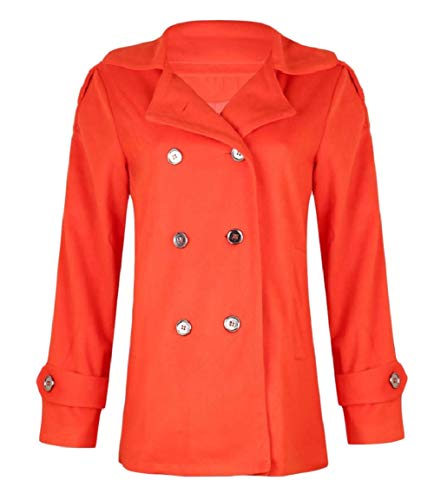 Pea MogogoWomen Skinny Collar Double Down Breasted Winter Fall Turn Orange Coat O8nOwqrH