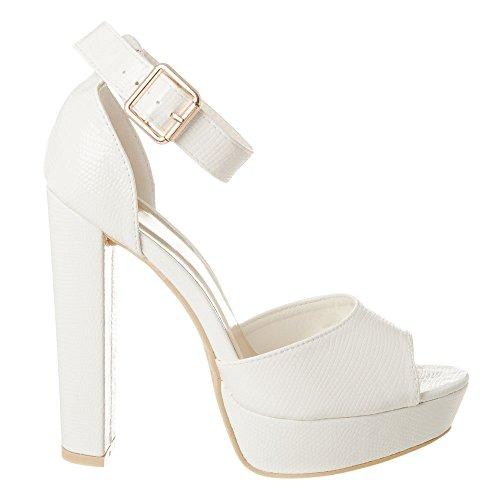 Blanco Diva Tacón Mujer Miss Con Zapatos qPXw8dgU
