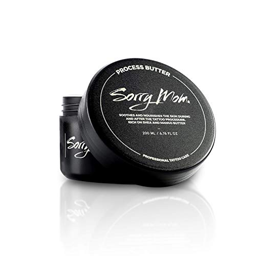 Sorry Mom Tattoo Aftercare Process Butter - Soothes Skin, Reduces Redness, and Stimulates Long-Lasting Tattoo Perfection (6.76 oz)]()