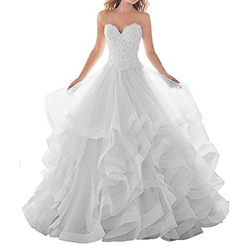 00a698842d8 WHZZ 2018 Sweetheart Lace Appliqued Wedding Dresses with Organza Ruffles  Train