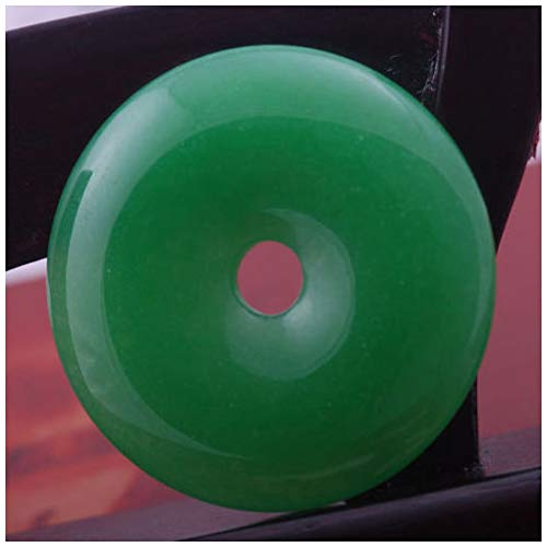 In Box 50mm Imperial Green Stone Jade Donut Circle Bead Pendant for Necklace (Imperial Green Jade Necklace)