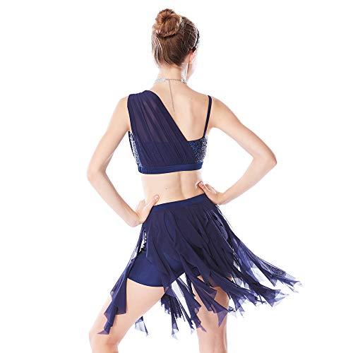 24dbbfdd6 MiDee 2 Pieces Sequins Diagonal-Neck Irreguar Latin Dress Dance Costume