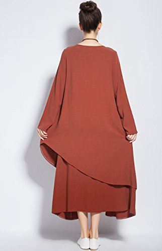 Fall amp;cotton Y88 Dress Double Size Plus Winter Anysize Layered Brownish Red Dress Linen gHaX6