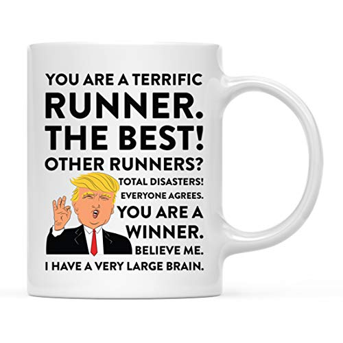 Andaz Press Funny President Donald Trump 11oz. Coffee Mug Gift, Runner, 1-Pack, Christmas Birthday Drinking Cup Republican Democrat Political Satire for Coworker