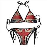 BEST&&SHIRT Women's Tie Side Swimwear Adjustable British Flag Print Bikini