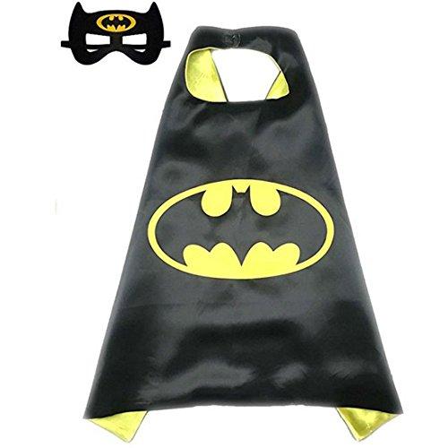[Calor Superhero or Princess Cape and Mask Set Halloween Dress Up Costume For Kids Childrens (Black & Yellow] (Pj Masks Owlette Halloween Costume)