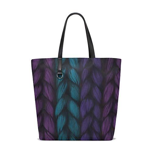 (Women Weave Plait Blue Purple Pink Texture Handle Satchel Handbags Shoulder Bag Tote Purse Messenger Bags)