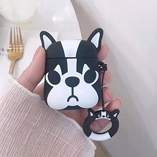 Airpods Case, Gtinna 3D Cartoon Bulldog Cute Dog Airpods Cover Soft Silicone Rechargeable Headphone Cases,Shockproof Protective Silicone Cover and Skin for Apple AirPods 1st/2nd Charging Case (Black)