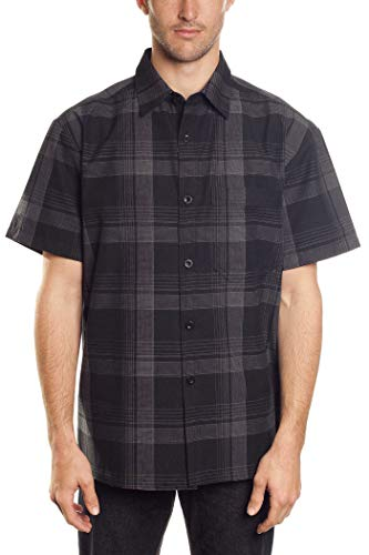 (YAGO Men's Short Sleeve Plaid Woven Work Shirt)