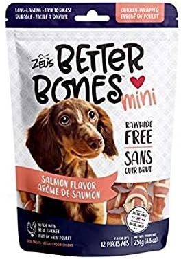 Zeus Better Bones Dog Treats, Rawhide Free Healthy Chicken Jerky Dog Treats, Salmon and Chicken Mini Bones, 12 Count