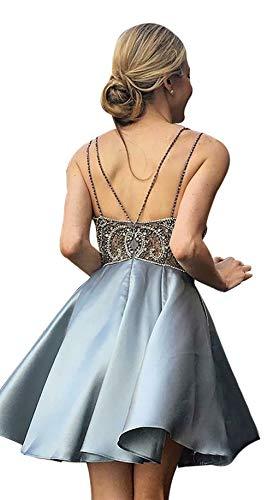 Beading Satin - Sweetdress Womens Spaghetti Beading Homecoming Dress Short V Neck Satin Prom Party Gowns Silver