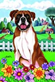 "Boxer – by Tomoyo Pitcher, Spring Dog Breed 28"" x 40"" Flag"