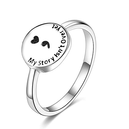 SILBERTALE Sterling Silver Semicolon Ring for Women My Story Isn't Over Yet Semicolon Jewelry Depression Suicide Awareness Ring Size 10