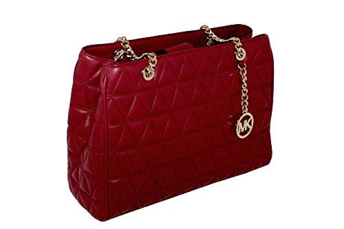 MICHAEL Michael Kors Women's Susannah Large Tote Soft Leather Handbag (Cherry)