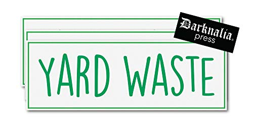 """Yard Waste Stickers- Farmhouse Trash Can Labels - 3 Pack - Green/White - 10""""x3"""""""