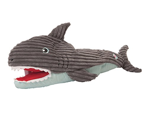 HuggleHounds Plush Durable Squeaky Craig The Interactive Shark Puppet Toy (Interactive Shark)