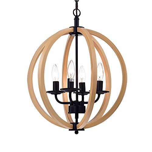 Warehouse of Tiffany RL8128-16BR Fedelmid Natural Wood and Black 16-inch Round Pendant Lamp