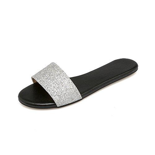 Piatto Sandali argento Tacco QIN Informale Donna amp;X 7nqZ6I