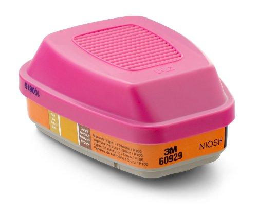 3M Mercury Vapor/Chlorine Gas Cartridge/Filter 60929, P100 Respiratory Protection  (Pack of 2) by 3M (Image #1)