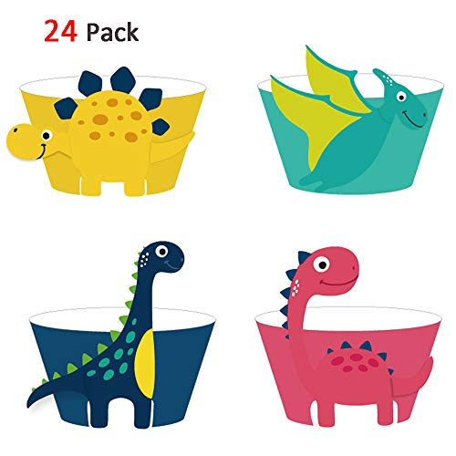 Dinosaur Cupcake Wrappers Toppers(24 Pack), Konsait Dinosaur Cupcake Decorations Dino Cupcake Holders Cake Decorations for Boys Kids Birthday Party Decor Favors Dinosaur Party Supplies ()