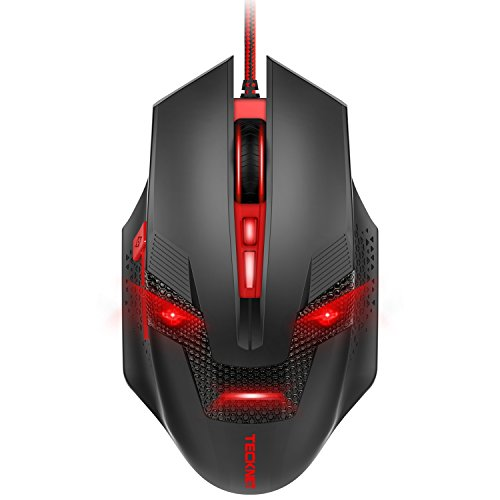 TeckNet Programmable Wired Optical Computer Gaming Mouse, Premium 7000DPI Sensor, 8 Programmable Buttons, 8 Breathing Light, Ergonomic Design, Extra Weight Game Mice for PC (Genius Ergonomic Mouse)