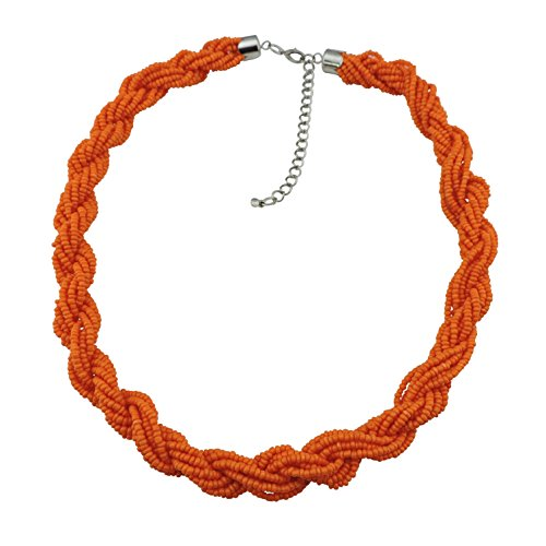 BOCAR Fashion Seed Beads Statement Twist Collar Necklace - Necklace Statement Orange