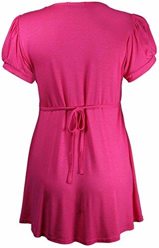Femme Manche Hanger Encolure Courte Purple Taille Bouton Grande Tunique Broche Cerise Ronde Rose BEdqXw