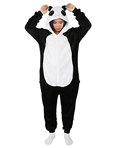 Mescara Adult Onesies for Women Panda Pajamas Cosplay Lounge Wear Halloween Sleepsuit(XL, Black and White) -