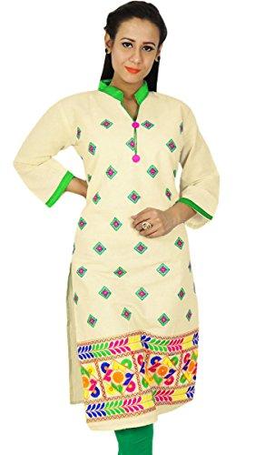 Étnica Diseñador Kurti Impreso Bollywood Kurta regalo del vestido ocasional de la túnica del Top Para Ella mujeres De blanco y verde